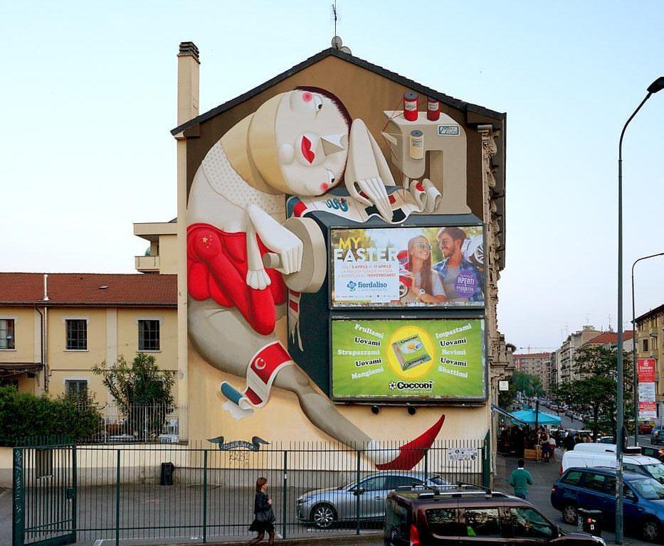 Il murale CuciMilano è di nuovo salvo: la vittoria raccontata da Zed1 e dal Madama Hostel & Bistrot